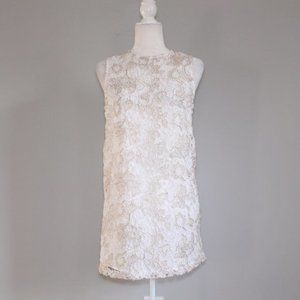 Forever 21 Lace White Gold Lace Sheath Dress Sz S